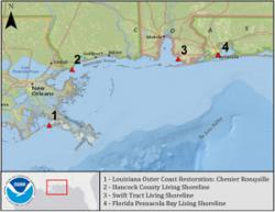 Map of Gulf of Mexico restoration
