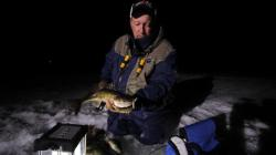 Early evening is good for ice fishing