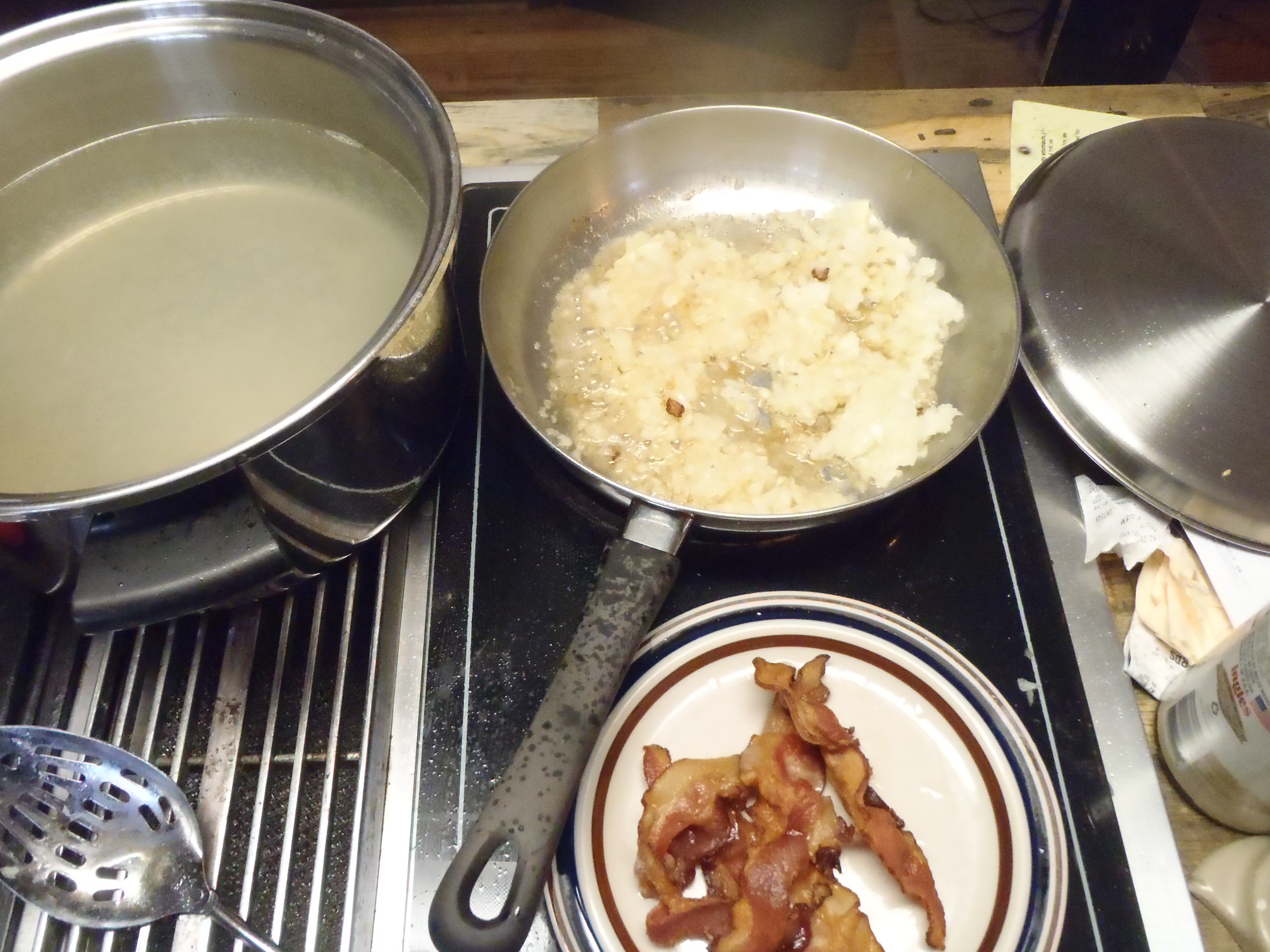 Saute onions in bacon grease