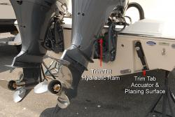 Tilt and trim on the outboard along with optional trim tabs