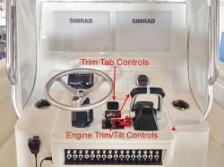 Controls for trim and tilt and trim tabs